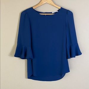 Newbury Kustom navy blue 3/4 bell sleeve blouse